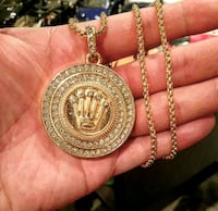 Rolex ice out gold tone plated chain necklace  Toronto, M1H 3G2