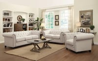 2pc Cream Tufted Nail Head Linen Living Room Set Charlotte, 28216