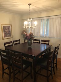 rectangular brown wooden table with six chairs dining set Oakville, L6L