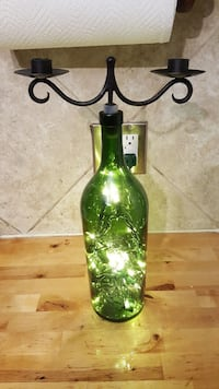 Wine bottle candle holder w/ prelit lights