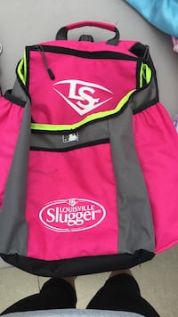 pink, gray, and green Louisville Slugger backpack