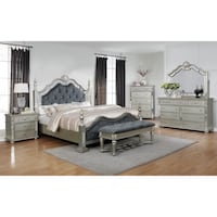 Mirrored queen size complete bedroom set includes  College Park