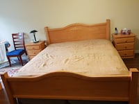King size wooden bed frame, king mattress, 2 spring boxes, a dresser and 2 nightstands Richmond, V6X