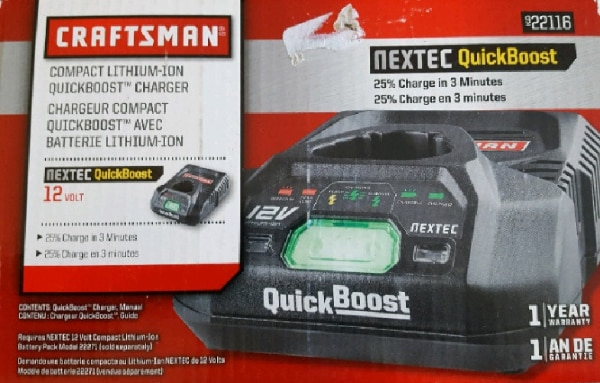 Craftsman Compact Nextec Quickboost 12 Volt Charger Lithium-Ion Battery 22116