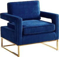 Blue Velvet Modern Arm Chair.
