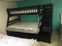 black wooden bunk bed with mattresses HOUSTON