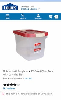 Rubbermaid Roughneck 19-Quart Clear Tote with Latching Lid Sterling, 20164