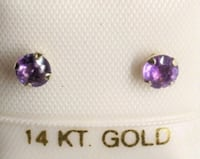 14K Yellow Gold Genuine Amethyst Earrings   Toronto, M6H 3Y9