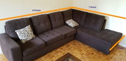L sectional Microfiber couch: Made in Canada