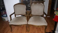 two brown wooden framed padded armchairs Grey County, N0C