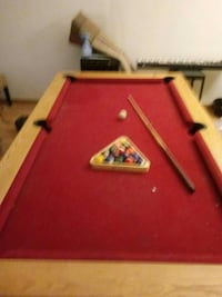 red and brown billiard table set