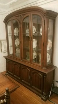 brown wooden framed glass display cabinet Los Angeles, 90047