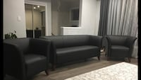 Black leather sofa set . Toronto, M1R 4T4