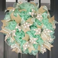 green and white floral wreath Indian Trail