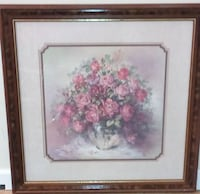 pink Rose flowers in clear vase painting with brown frame