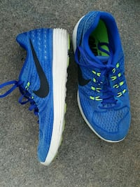pair of blue Nike running shoes