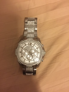 stainless steel round diamond  chronograph watch