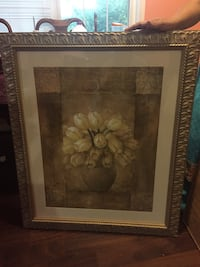 brown wooden framed painting of white flowers Dalton, 30721