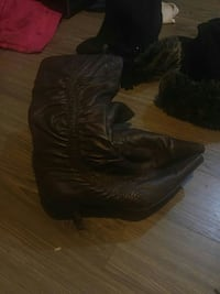 pair of women's brown leather knee-high boots Calgary, T2K