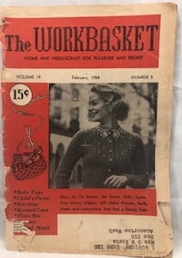 Workbasket Magazine Home Needlecraft Projects Vintage February 1954 Crafts 94pgs  May have writing, fading/yellowing, corners bent or loose pages.   6278 Thousand Oaks