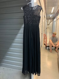 Black maxi dress with sequin top and side slit Brandon, 39042
