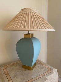 Southwest style lamp with aqua porcelain base and brass top  Silver Spring, 20904