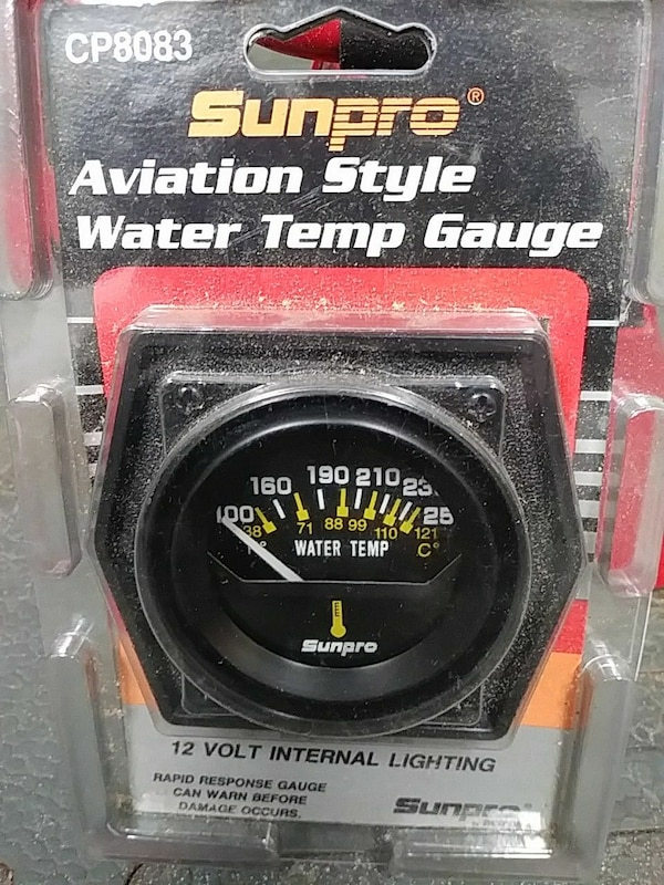 Used Sunpro cp8083 Aviation Style Water Temp Gauge for sale