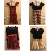 4 Girls Dresses, Used Once, Sz 10 (Top Lt) & Sz 8 (Top Rt & 2 Bottom)