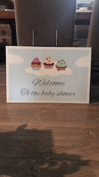 Baby shower welcome poster with stand
