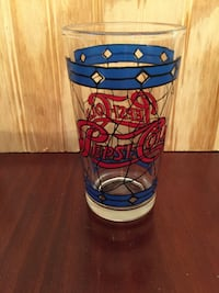 @====       Vintage Pepsi Stain Glass Drinking Glass