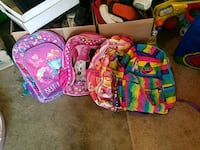 Girls backpack $3.00 a piece or $10.00 for all 4 Kettering