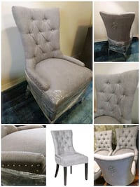 Brand New hook accent chair. Tufted, studed. Grey 558 km