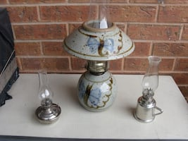 CERAMIC OIL LAMP, also SOLID PEWTER MINI OIL LAMPS