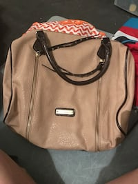 brown pebble leather handbag