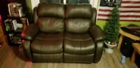 Black Real Leather 2-seat Reclining Loveseat Couch Cambridge, N3C 4M5