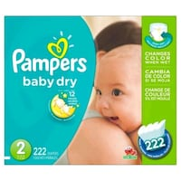 PRICE FIRM: BNIB Pampers Baby Dry Size 2 222 ct Mississauga, L5R 0A9