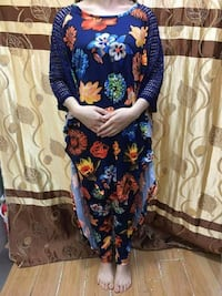 women's blue, red, and orange floral jumpsuit Toronto