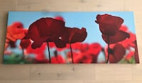 Red poppies canvas, dims 55x22 Hoboken, 07030