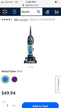 Black and blue upright vacuum cleaner Brea, 92821