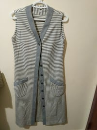 women's gray and white striped button-up dress