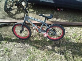 toddler's black and red bicycle
