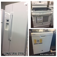 white side by side refrigerator with dispenser