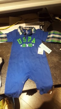 baby's blue and green polo sleepsuit