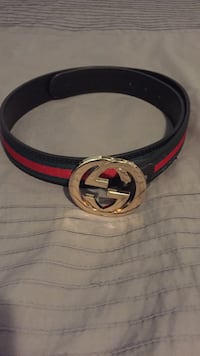 Green and red gucci belt with buckle