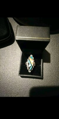 silver and blue gemstone ring in box Ogden, 84403