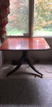 black and red wooden table