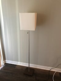 White lamp shade, brown wood platform- floor lamp Arlington, 22201