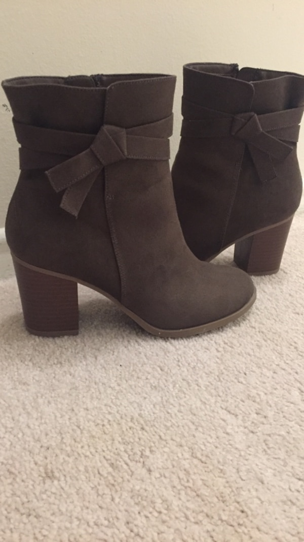 Pair of gray suede side-zip chunky-heeled ankle boots