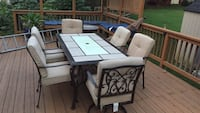 Rectangular white wooden table with four chairs dining set Herndon, 20170