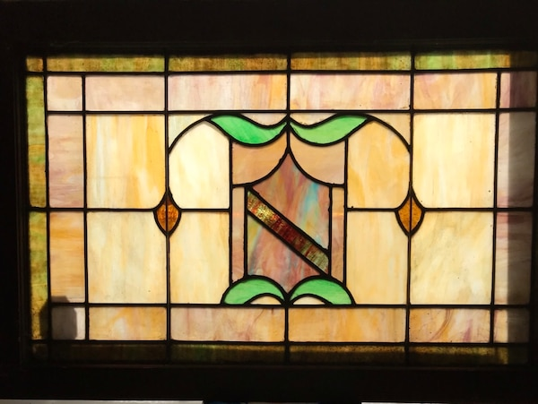 Early 1900's double hung stained glass panel 90cfe039-b2ea-4ef6-9bd7-9c181771288e